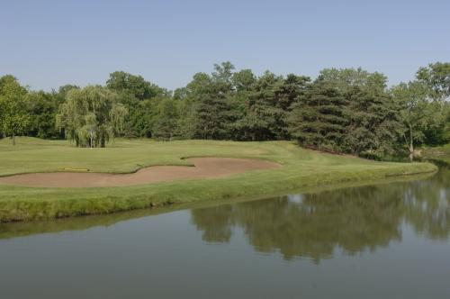 A pond on the course at Crane's Landing Golf Club